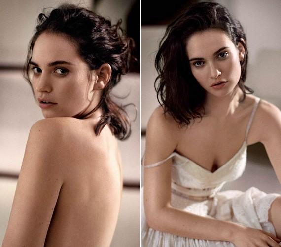 Lily James ledobta a textilt, de nem mutatott sokat magából. Nem csak ruha nélküli kép készült a magazinnak, egy dögös csipkeruhában is pózolt a színésznő.