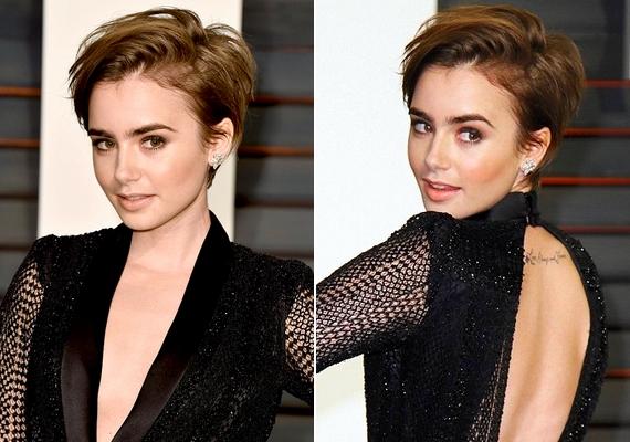 Szélfútta hatású pixie frizurát vágatott Lily Collins. Ez az első eset, hogy a színésznő bevállalja a rövid hajat.