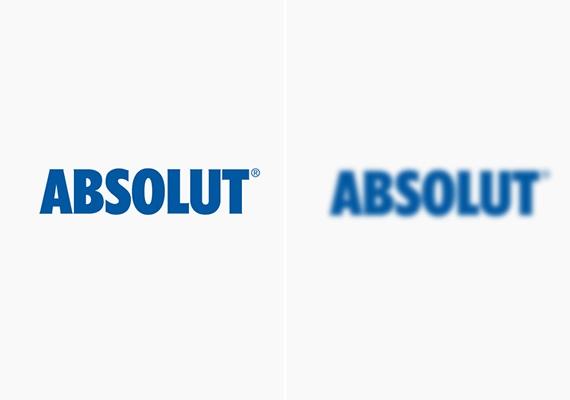 Néhány korty az Absolut vodkából, és már a bal oldali logót is olyannak látod majd, mint a homályos feliratot.