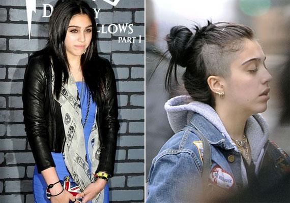 Lourdes korábban szinte mindig kiengedve hordta hosszú, sötét haját. Most összefogta, hogy a leborotvált részt biztosan észrevegyék a fotósok.