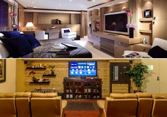 A luxus hálószobákban óriási tévék vannak, de van egy közös mozihelyiség is, ahol bőrkanapékon élvezhetik a filmeket.