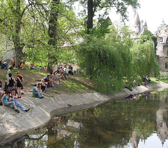 A városligeti tó mellett hatalmas tömeg üldögélt az ányékot keresve.