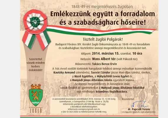 A fideszes zuglói közösség külön ünnepet tart március 15-én.