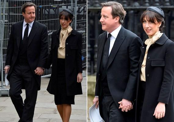David Cameron és felesége, Samantha is jelen voltak a temetésen. A jelenlegi brit miniszterelnök a könnyeivel küszködött a ceremónia alatt.