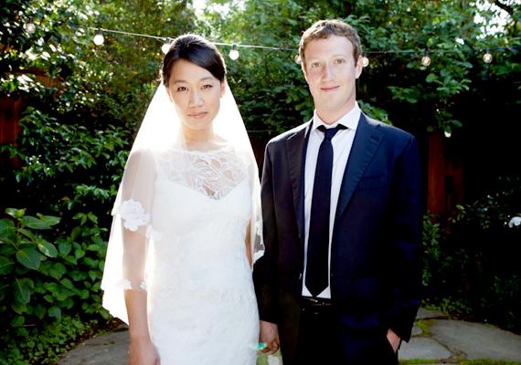 Mark és felesége, Priscilla Chan az esküvőjükön.