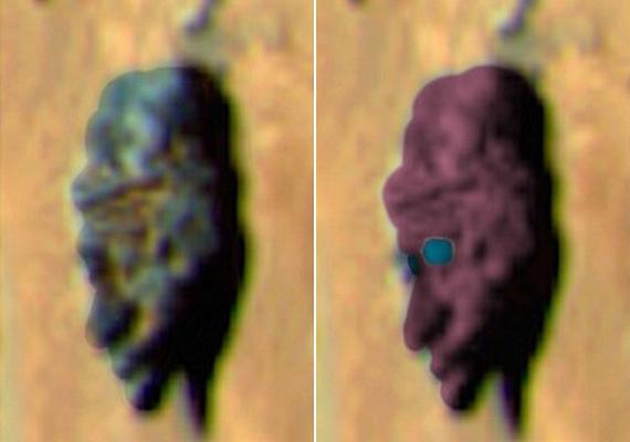 Már máskor is készült fotó a Marson arcra emlékeztető kövekről, és bár a nagyítás miatt a minőség nem az igazi, de jól kivehető a hasonlóság.