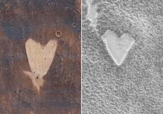 A véletlen műve, hogy már többször is készült kép szív alakú objektumokról a vörös bolygón.