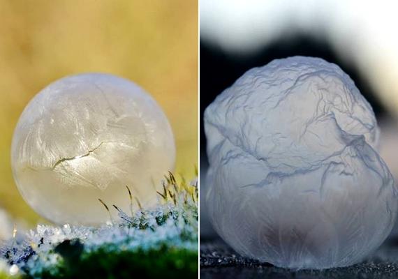 A megfagyott buborék gyakran úgy néz ki, mintha gyűrött lenne.