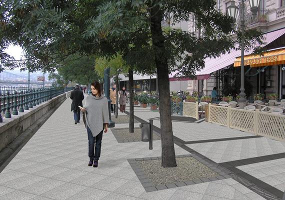 A Belváros-Lipótváros önkormányzata által 2013. augusztus 12-én közreadott látványterven az ősztől szakaszosan megújuló Dunakorzó látható, ahol megújítják a burkolatokat és kicserélik a kandelábereket.