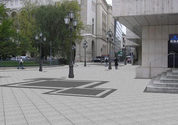 A képen szintén a Dunakorzó Vígadó téri szakaszának felújítási terve látható.
