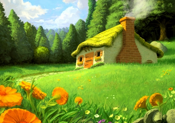 Kedves kis kunyhó az erdei tisztáson.Kattints ide a nagyobb felbontású képért! »