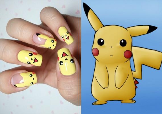 Pikachu népszerű alakja volt a Pokemon-meséknek. Most körmökön virít.