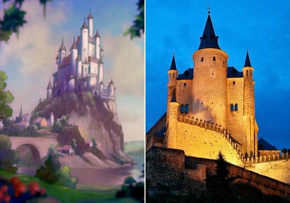 A kastély, amelyben Hófehérke gonosz mostohája élt, a spanyolországi Alcázar de Segovia.