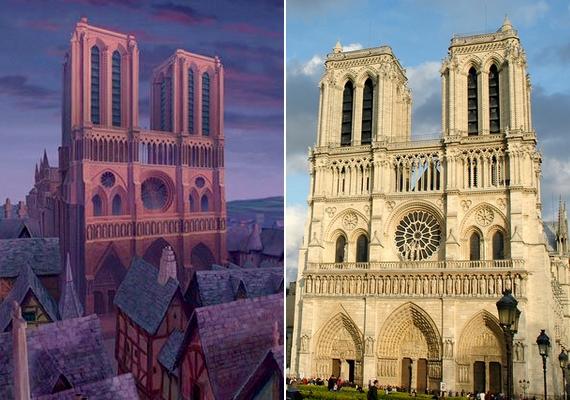 A párizsi Notre Dame létezéséről mindenki tud: ez köszön vissza A Notre Dame-i toronyőr című rajzfilm képkockáiról is.