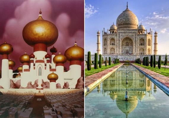 Jázmin hercegnő egzotikus palotáját az Aladdinból valójában az indiai Taj Mahalról mintázták.
