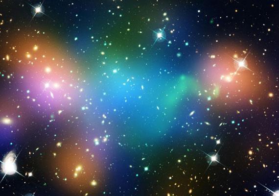 Sötét anyag, forró gáz és galaxisok csoportosulása.