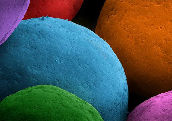 Színes, szabályos gömbök alkotják a tortadarát.