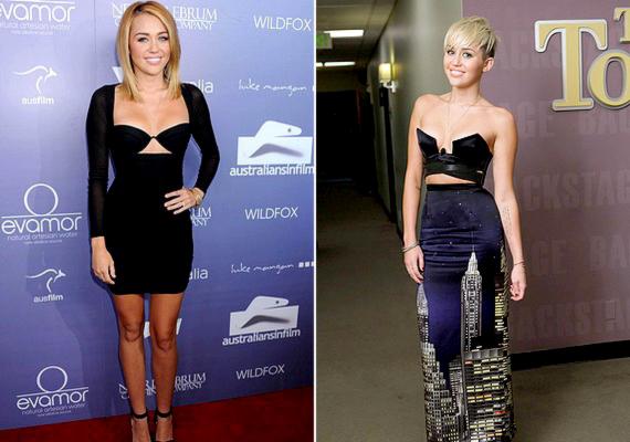 Miley akkor sem fogja vissza magát, ha estélyi ruháról van szó: gyakran hord külön melltartós ruhát és extrém összeállításokat.