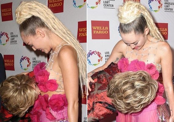 Jane Fonda hason csókolta Miley Cyrust a fotósok hada előtt, a vörös szőnyeg kellős közepén.
