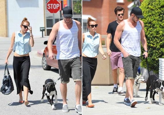 Miley Cyrus és Liam Hemsworth frissen mentett kutyusukkal, Mary Jane-nel.