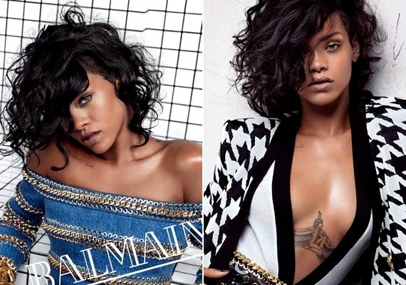 Rihanna sem szégyenlősködött: a 25 éves énekesnő mélyen kivágott ruhákban pózolta Balmain fotóin.