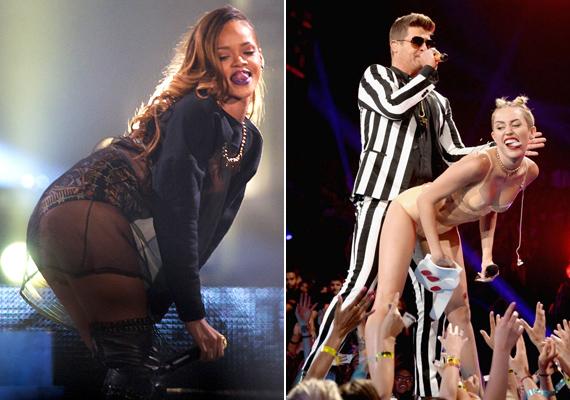 A pucsítás sem hiányozhatott egyikőjük repertoárjából sem, de amíg Rihanna csak a táncmozdulatot mutatta be, addig Miley és Robin Thicke szinte közösültek a színpadon.
