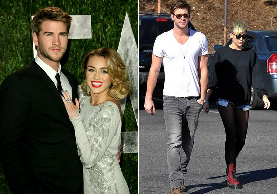 Ilyen volt, ilyen lett: a két fotón mintha két különböző lánnyal pózolna Liam Hemsworth, Miley vőlegénye - pedig mindkét képen ugyanazok a szereplők.