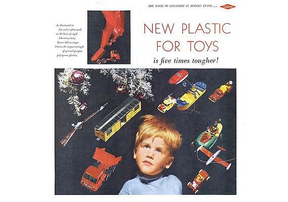 Ötször erősebb és vagányabb játékok - hirdetés a műanyag hőskorából.