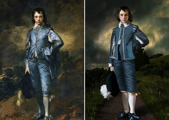 Thomas Gainsborough híres képe, A kékruhás fiú is egészen más külsőt kapott a művészek keze alatt. Valószínűleg ilyen lehetett az életben.