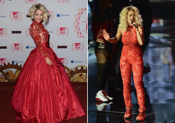 Rita Ora habos szoknyáját a színpadra lépés előtt csipkeruhára cserélte, amihez hasonlót Lady Gagán láthattál a 2009-es MTV Video Music Awardson.
