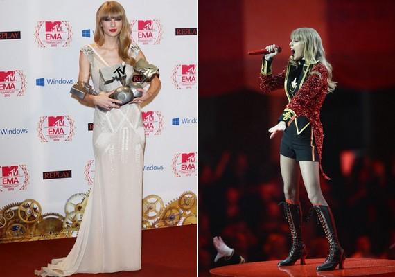 Taylor Swift a visszafogott, nőies estélyit a színpadon vörös felsőre és fekete rövidnadrágra cserélte.