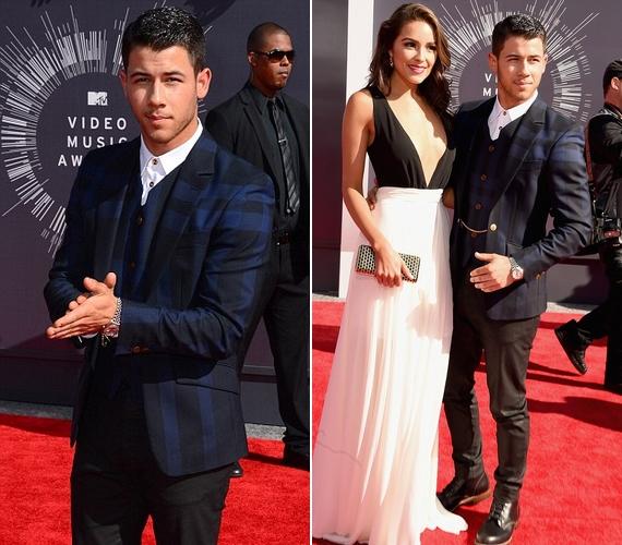 Nick Jonas nem egyedül érkezett, oldalán amerikai szépségkirálynő barátnője, Olivia Culpo vonult a vörös szőnyegen. A 22 éves lány egy egyszerű, szexis fekete-fehér ruhát választott a díjátadóra.