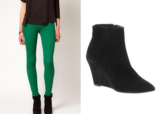 A láb vonalát követő, színes nadrágok nem csak a meleg évszakokban jók. Egy fekete bokacsizmával a telet is feldobják.