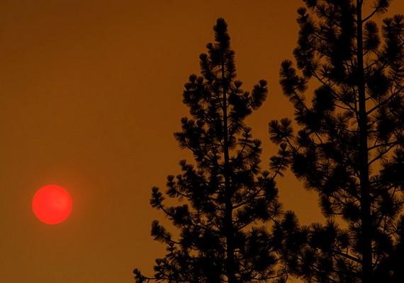 Egy futótűz miatt elszíneződött az ég, ami a napot is eperszínűre festette - Kalifornia, augusztus 22.