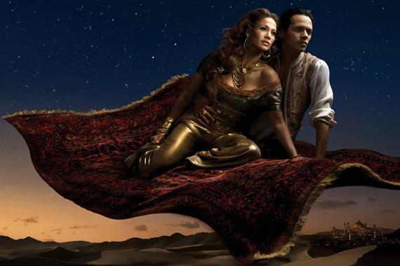 Aladdin és Jázmin megtestesítője az egykori álompár, Jennifer Lopez és Marc Anthony.