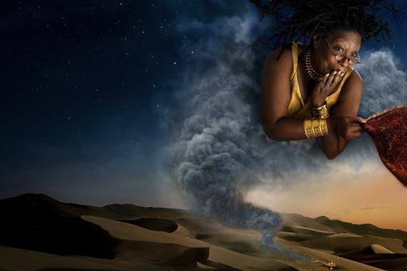 Whoopy Goldberg az egyik klasszikus mese, az Aladdin dzsinnjeként huncutkodik.