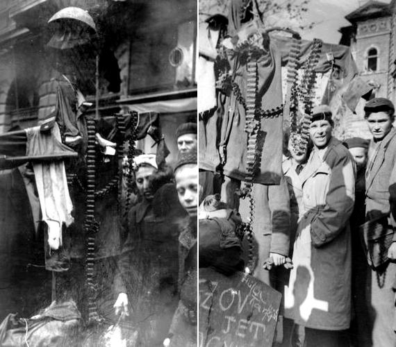 Szovjet katonának öltöztetett madárijesztőt tart nők és férfiak egy kisebb csoportja Budapesten, aJózsef körúton.