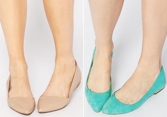 A lapos talpú balerinacipő még mindig divatos, de az eddigi kerek forma helyett most az enyhén hegyes orr lesz a divat. Natúr és feltűnő színben is trendi.