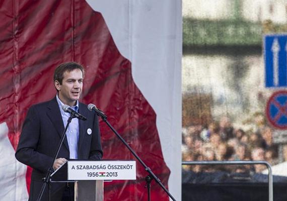 Bajnai Gordon volt miniszterelnök, az Együtt-PM szövetség vezetője beszédet mond a Műegyetem előtt.                         - Orbán Viktor Magyarországa a Titanic. Hajó, amely a jéghegy felé közelít, kapitánya pedig elhallgatja az igazságot - mondta, hozzátéve, hogy az embereknek 2014-ben Orbánország és Magyarország között kell választaniuk.
