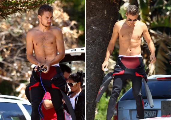 Liam Payne szörfözéshez készülődik - a rajongók örömére félmeztelenül is sikerült lekapni.