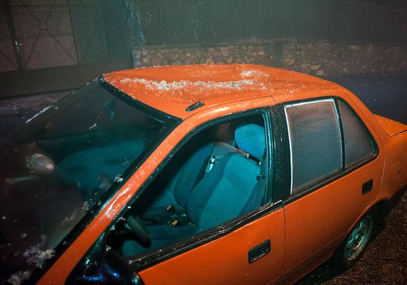 Leszakadó ág rongálta meg ezt az autót a XII. kerületben. A hegyvidéki városrészben okozta a legtöbb gondot az ónos eső.