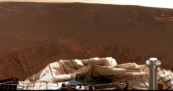 Ez volt az első színes panorámakép az Opportunity landolási helyének környezetéről.