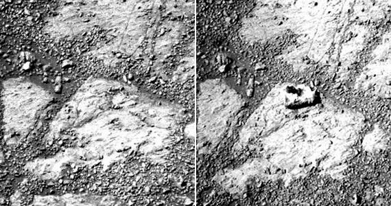 A rover által készített legfrissebb fotó egy rejtélyt örökített meg: a bal és a jobb oldali felvétel készülte között 12 marsi nap telt el, és ezalatt ismeretlen módon egy kődarab került a robot elé.