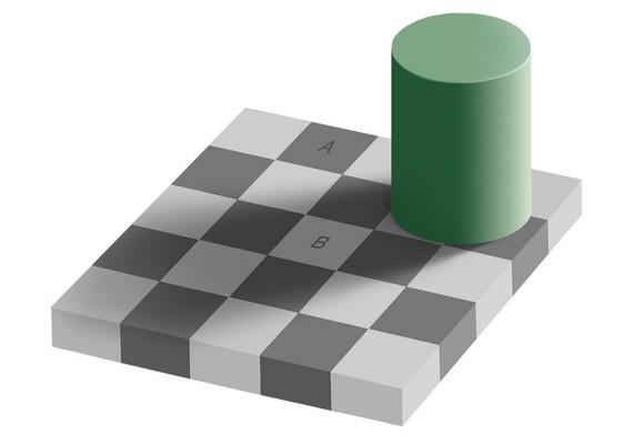 Melyik négyzet sötétebb színű, az A vagy a B? Nyugodtan ellenőrizheted, egyformák!