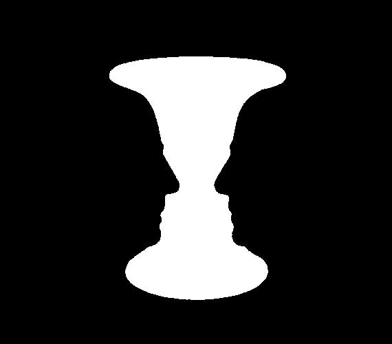 Ez lehet egy fehér váza is, de lehet két arc sziluettje profilból.