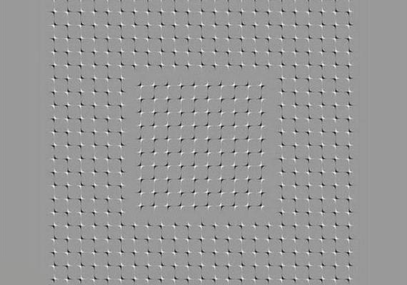 A szürke felületen lévő csillagok olyanok, mintha mozognának, amennyiben néhány másodpercig pislogás nélkül nézed a képet.