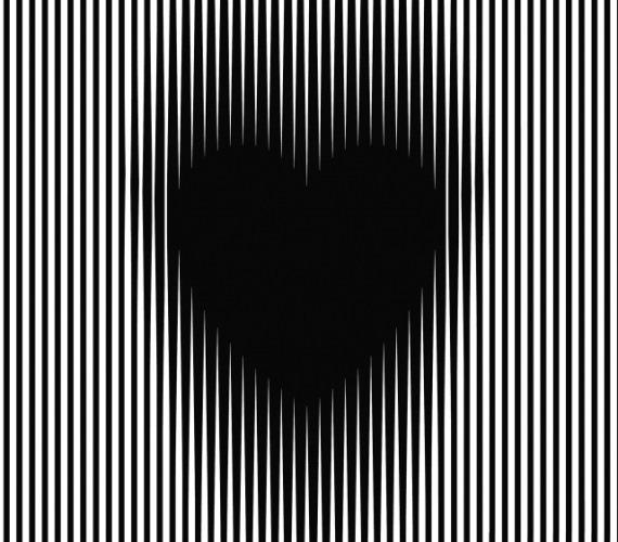 Növekvő szívA mozgási illúziónak, vagyis az autokinetikus hatásnak köszönhetően ez a fekete szív életre kel: mintha egyre nagyobb lenne!