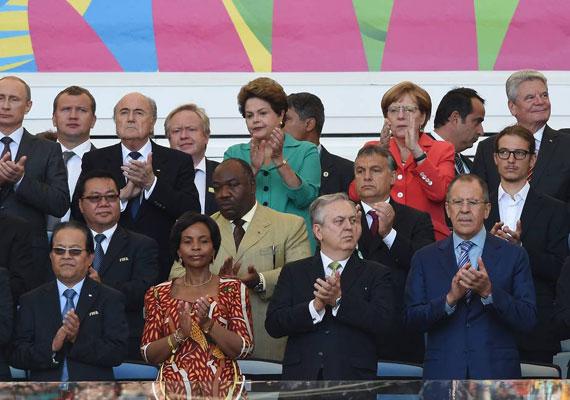 A Maracana stadion VIP részlege visszafogottan ünnepel.