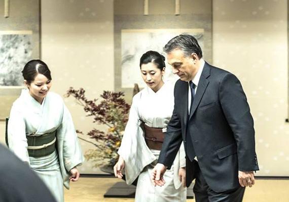 A miniszterelnök annyira zavarban van a gésák között, hogy fel sem mer pillantani.