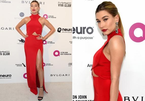 Hailey Baldwin modellként tudja, hogyan kell pózolni: Alec Baldwin 19 éves lánya dögös, tűzpiros ruhát viselt a vörös szőnyegen.